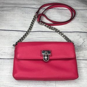 Calvin Klein Modena Hot Pink Leather Crossbody Bag